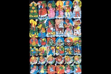 Reproduction Chromolithograph Embossed Die-Cut Reliefs - Mini Christmas Motifs
