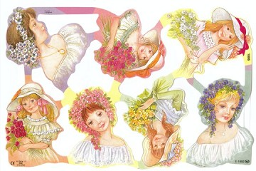 Reproduction Chromolithograph Embossed Die-Cut Scrap Reliefs - Modern Flower Girls