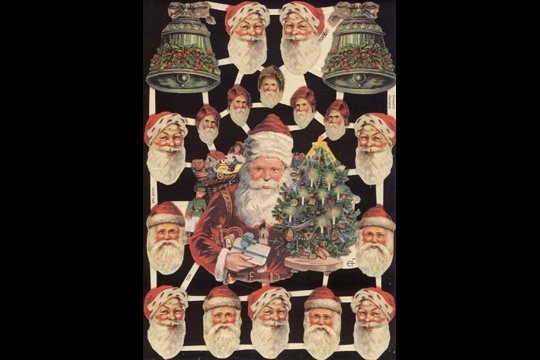 Reproduction Chromolithograph Embossed Die-Cut Scrap Reliefs - Santa Mix