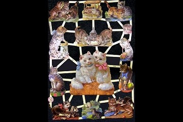Reproduction Chromolithograph Embossed Die-Cut Relief Scraps - Sweet Kitties