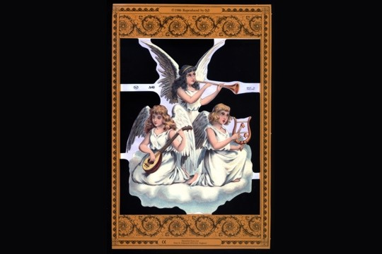 Die Cut and Embossed Reproduction Chromolithograph Scraps - Three Angels