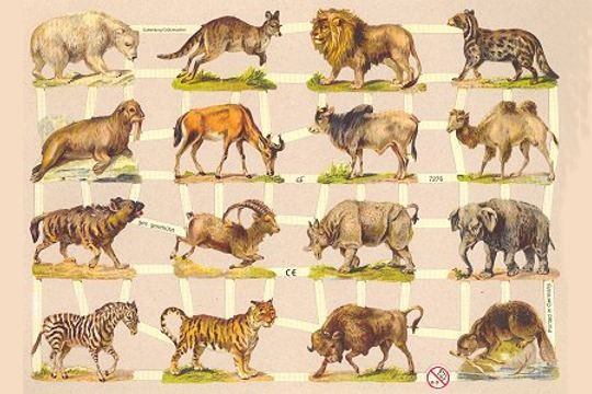 Wild Animals Reproduction Die Cut Chromolithograph Embossed Scraps