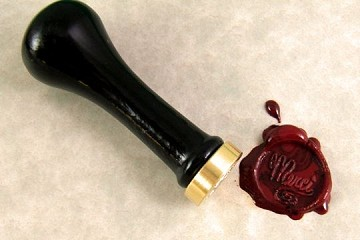 Traditional / Modern Sealing Wax Seal in Solid Brass - MERCI - with Wooden Handle