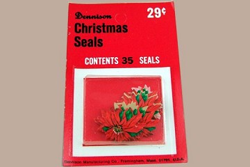 Vintage Dennison Gummed Christmas Seals - Packet of 35 Poinsettias