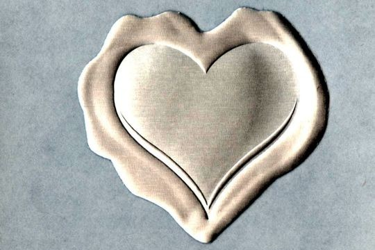 Silver Wax Heart Embossed Metalic Seals - Package of 4