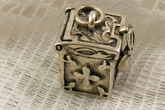 Square Sterling Silver Secret Keeper or Prayer Box Charm or Pendant with Hand Clasp