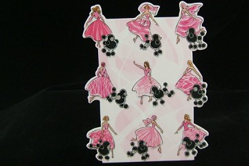 Box of 10 Die Cut Note Cards: Les Filles et Les Caniches (The Girls with their Poodles)