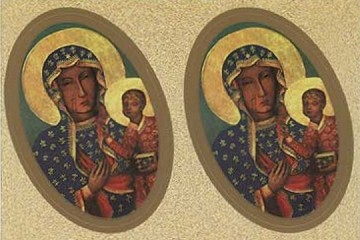 Sheet of 4 LARGE Metallic Accent Our Lady of Czestochowa STickers