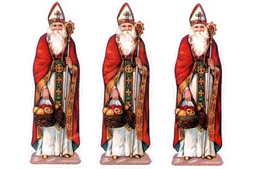 New Old Stock Embossed & Die-Cut Saint Nicholas Stickers - Package of 27