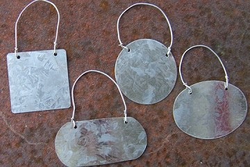 Galvanized Tags with Wires - Set of 4 Assorted Shapes