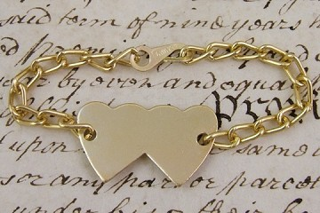 Golden Metal Heart ID Tag