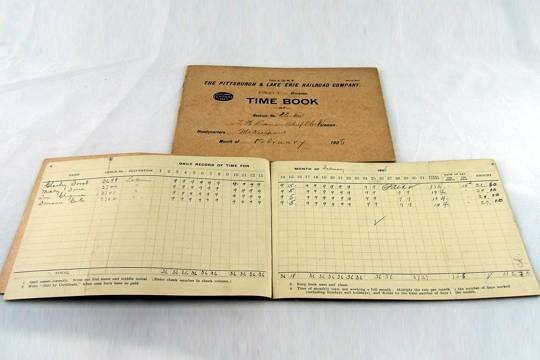 Vintage PIttsburgh and Lake Erie Railroad Company Time Book (P&LE)