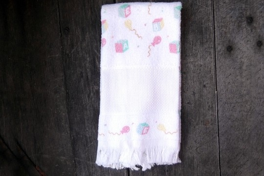 New Old Stock DIY Baby Towel with Aida Cloth for Cross Stitch or Other Embroidery