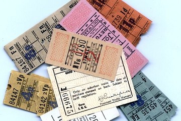Assortment of over 44 Vintage Transportation Tickets