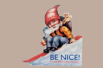 Large BE NICE! Elf Standing Poster - It Works Like Magic